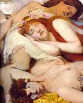 Sir Lawrence Alma-Tadema: 'Exhausted Maenides after the Dance'; 1874