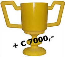 The prize consists of a polyester trophy and an amount of � 7000,- in cash.