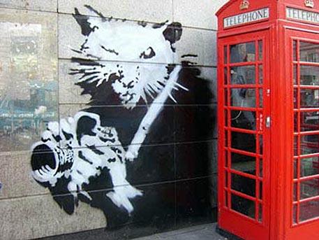 Banksy op Picadilly, Londen (2005)