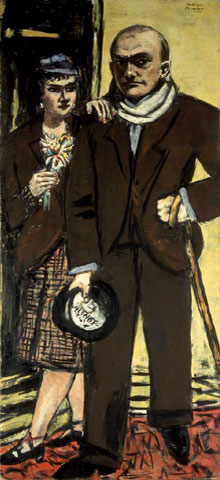 Max Beckmann: 'Doppelportrait von Quappi und mir', 1941. Olie op doek, 194 x 89 cm, collectie Stedelijk Museum Amsterdam