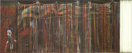 Rob Birza: Mickey of the blind (Sea of lights); 1989-90; eitempera op doek, tl-buizen; 156 x 388 cm