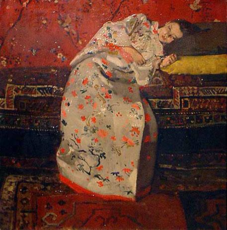 George Hendrik Breitner: Meisje in witte kimono / 1893 / olieverf op doek / 58x56 cm / collectie Rijksmuseum Twenthe