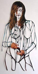 Amie Dicke: 'Heidi Klum'; 2003; 33x16,5 inch; pen on paper (magazine)
