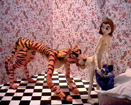Nathalie Djurberg, still from 'Tiger Licking Girl's Butt', 2005, DVD, 2:15 minutes