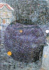 Peter Doig: 'Charley's Space'; 1991; 182,5 x 126 cm: Charley's Space* (1991) kan als sleutelwerk worden opgevat. Het sneeuwt op het doek en in de schemering ontwaren we een verlicht huis. Vanuit de rechter benedenhoek nadert een witte schim. Een cirkelmotief van onbestemde substantie domineert de voorstelling. Het oog van de schilder lijkt scherp te stellen om ons een heldere blik op de wereld erachter te gunnen maar om met de cineast Stanley Kubrick te spreken 'Never reveal your mystery'.