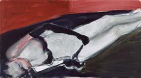 Marlene Dumas: 'Suspect'; 2002; 56x100 cm; olie op doek