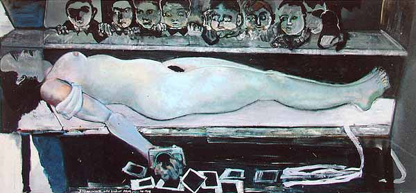 Marlene Dumas: Snowwhite and the broken arm; 1988; oil on canvas; 140 x 300 cm