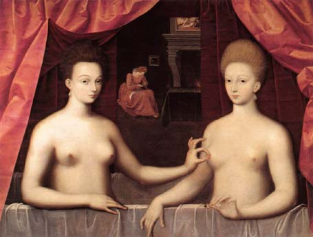 Gabrielle d'Estrees and One of Her Sisters in the Bath; maker onbekend; ca. 1599; 96 x 125 cm; Mus�e du Louvre, Paris