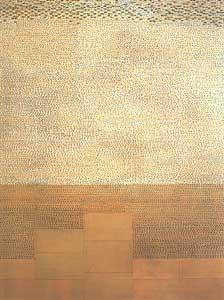 Ellen Gallagher: 'Host'; 1996;  olie, potlood en papier op canvas; 175 x 127 cm.