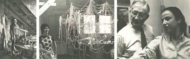 v.l.n.r.: Eva Hesse in haar atelier in de Bowery (New York), Eva Hesse met haar werk 'Right After'(1969) en Eva Hesse met Josef Albers.