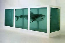 Damien Hirst: 'The Physical Impossibility of Death in the Mind of Someone Living'; 1991; tiger shark, glass, steel, formaldehyde solution; 213 x 518 x 213 cm