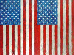 Jasper Johns: 'Two Flags' (in 6 parts); 1973; oil on canvas with encaustic; ca. 52 x 70 inch; $7.5 million at Christie's, May 13, 1999
