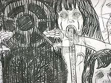 Natasja Kensmil: detail van tekening; houtskool op papier