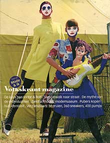 uit het papieren suds-and-soda-archief: kleding van Bas Kosters op de voorkant van Volkskrant Magazine; augustus 2003