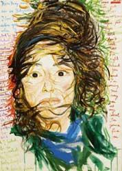 Elke Krystufek: 'Strange Angels'; 2001; acrylverf op doek; 70 x 50 cm