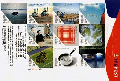 Tien postzegels met Nederlandse kunstwerken