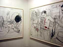 tekeningen van Erik van Lieshout bij Galerie Krinzinger op Art Basel 2003