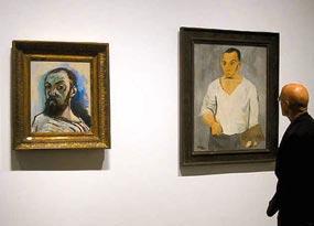 Henri Matisse, zelfportret (1906) en Pablo Picasso, zelfportret met palet (1906) in 'Matisse Picasso' in MoMA QNS