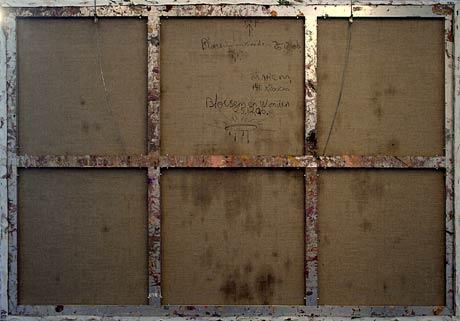 Marc Mulders, achterkant van schilderij in etalage galerie Borzo, Amsterdam