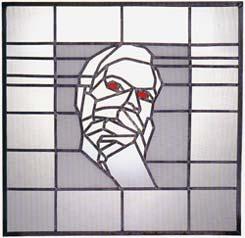 Uw nieuwste vriend Gijs M�ller; 1995; glas in lood; 70 x 72,5 cm.