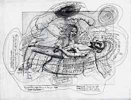 Rinke Nijburg: 'Het mirakel van de schouderwond';2001; balpen, aquarelverf en droge naald op papier; 32 x 42,5 cm