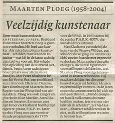 In memoriam Maarten Ploeg, vandaag in NRC Handelsblad