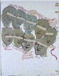 Paulinka, Charlotte's stiefmoeder, houdt een monoloog in negen 'kopjes', de ogen zijn steeds afgeplakt en ��n keer de wenkbrauwen als de ogen reeds gesloten zijn - Charlotte Salomon; gouache; 1940-1942