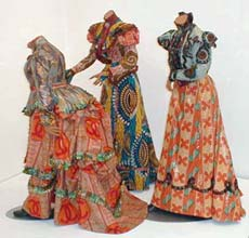 Yinka Shonibare: 'Three Graces'; 2001; three life-size mannequins, dutch wax printed cotton
