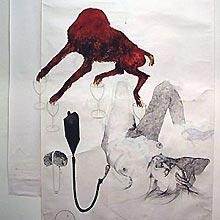 Dieuwke Spaans: 'annihilation'; 2001; gemengde techniek op papier; 250 x 160 cm