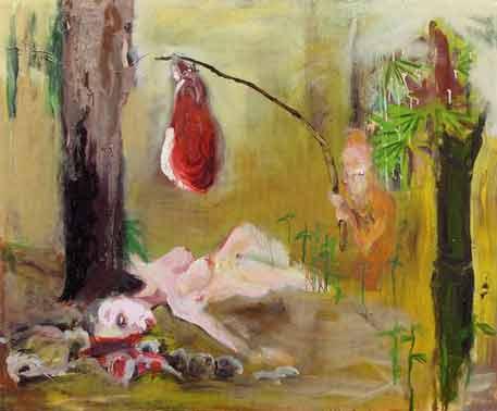 Aaron van Erp: 'Blote vrouw met speklap en dwerg'; 2002, olieverf op doek, 120 x 150 cm