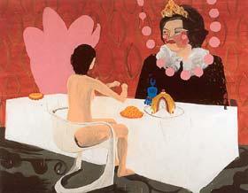 Sara van der Heide: 'Me and the Queen'; 1999; acrylverf en olieverf op doek; 209 x 270,5 cm