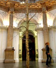 Mark Wallinger's kerstboom in Tate Britain (2003), een esp met rozenkransen