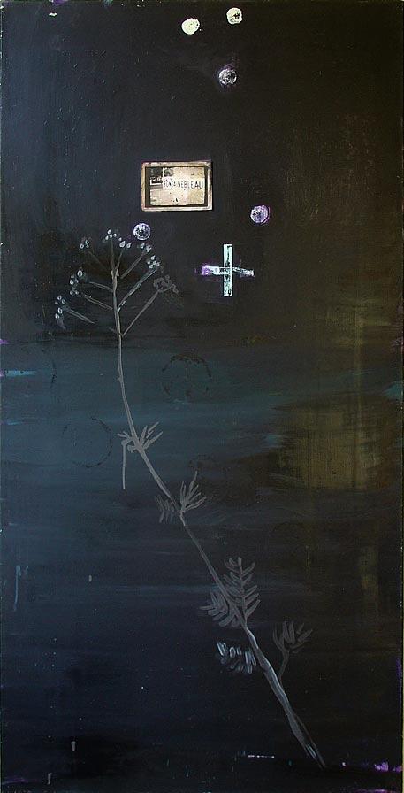 Wouter Schuiling, z.t. (fontainebleau), ca. 1991,  olieverf en foto op doek, 169,5 x 84 cm